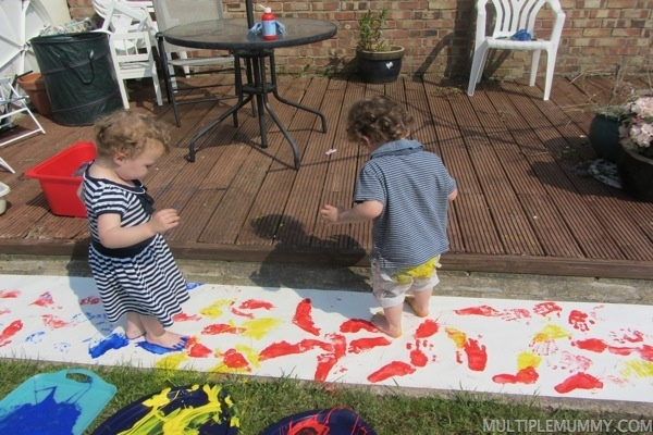 Make your own footprint wrapping paper - great for Father's day coming up!