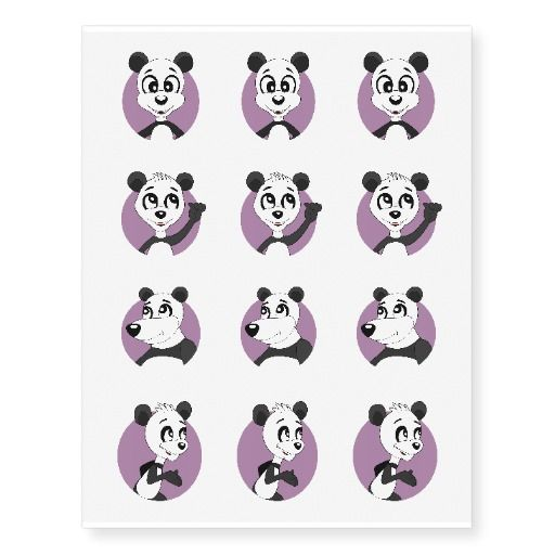 Panda cartoon temporary tattoos