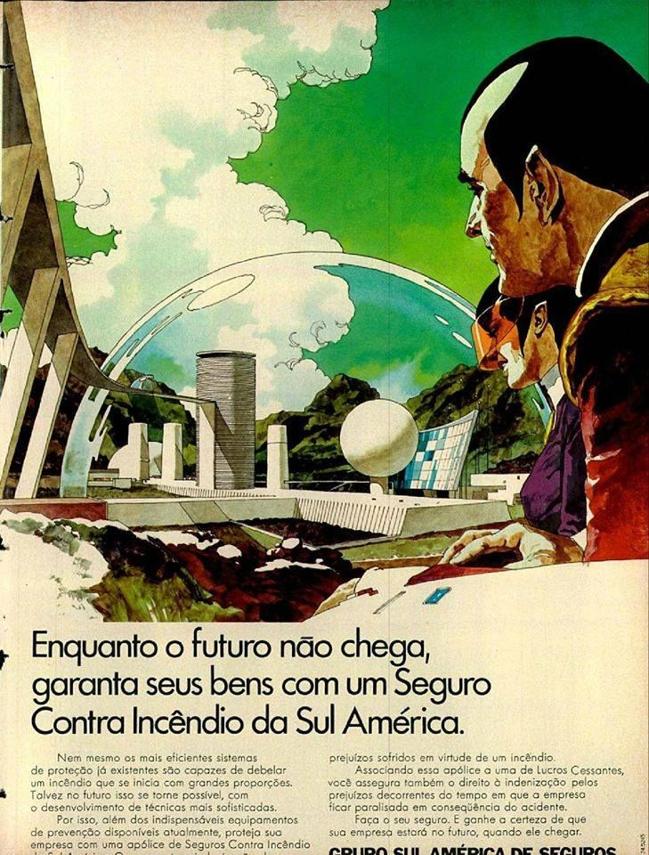 These are ads for a Brazilian insurance company by Jose Luiz Benicio I believe, posted by a user on the Syd Mead Facebook group, definite influence (Bob Peak too), love the way there seems to be a whole world and race of beings worked out. http://www.djfood.org/jose-luiz-benicio-insurance-company-ads/