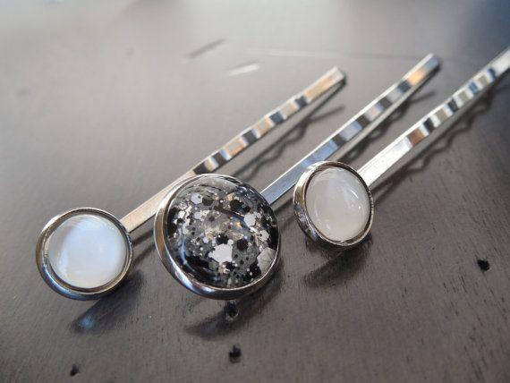 Ensemble de 3 épingles à cheveux gris noir et blanc par CO2Bijou