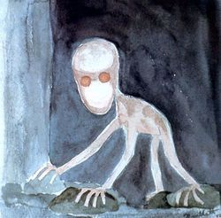 """The Dover Demon is a small humanoid reported from Dover, Massachusetts. It was the subject of an intensive scare during the 1970s, when multiple witnesses came forward with their sightings. The Dover Demon is described as looking sort of like the """"gray"""" variety of alien, except that it has skin of a rosy orange instead of sickly gray. The Dover Demon has a large head on a small, stick-like body. It can be bipedal, but it often travels on all fours..."""
