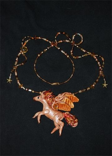 Pegasus art necklace polymer clay, beads, can be worn or displayed (comes mounted in a shadow box)