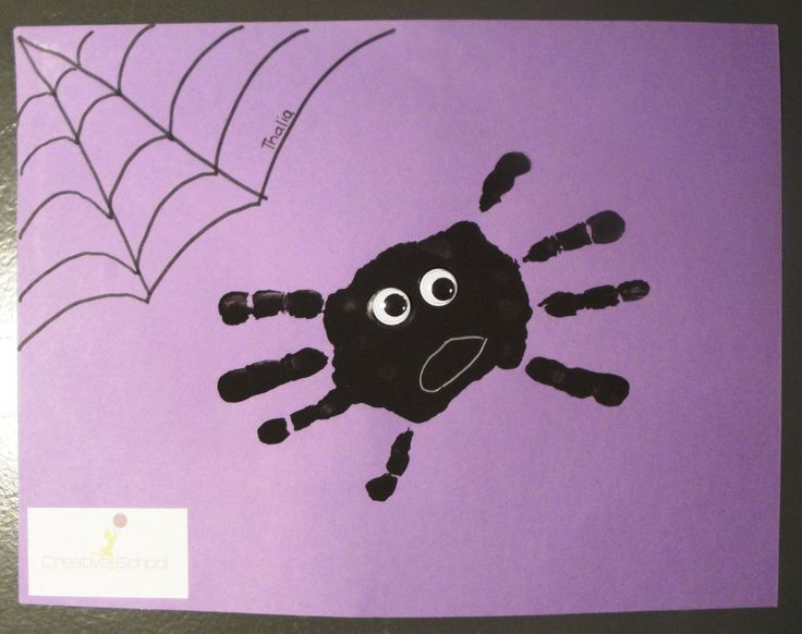 Hand print spider craft