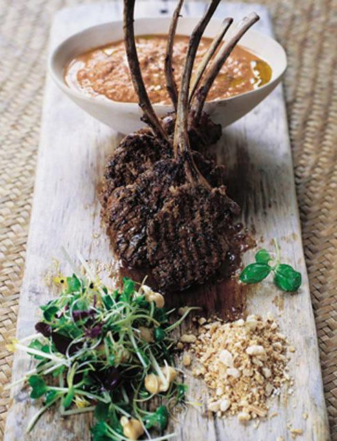 barbecued lamb lollipops with spiked hummous & nuts | Jamie Oliver | Food | Jamie Oliver (UK). I love lamb. This is suppose to be damn good, so will have to try. Just need to find a good humus