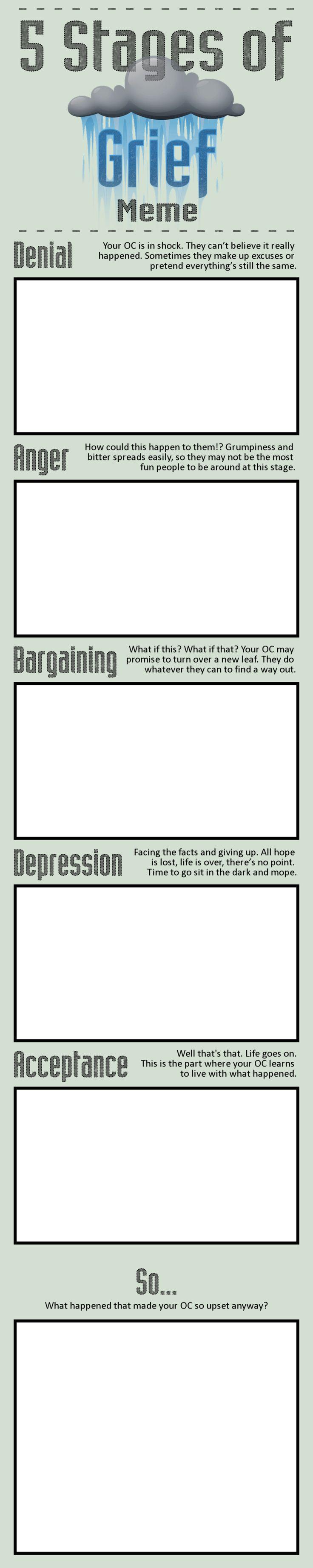 5 Stages of Grief Meme by Jabnormalities.deviantart.com on @DeviantArt