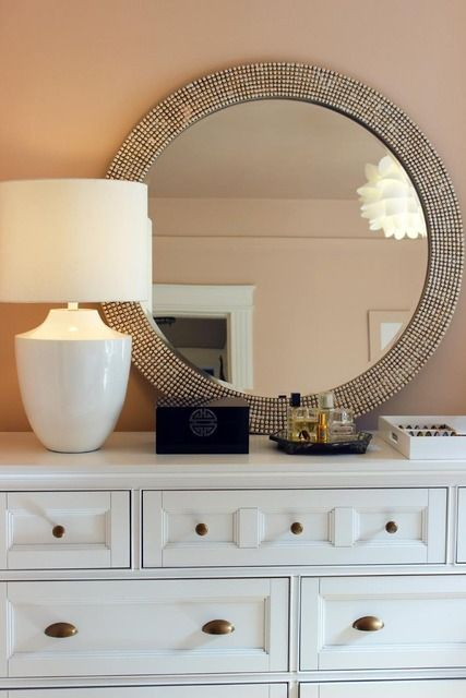 Dresser + Modern White + Mixed Metals + Blush Walls (Crystal Gentilello)