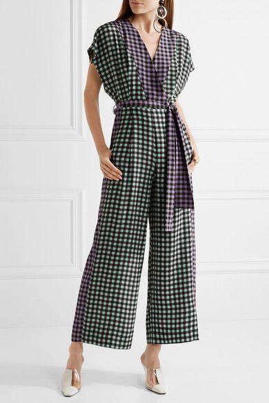 19fadd533a Diane von Furstenberg - Gingham silk crepe de chine jumpsuit