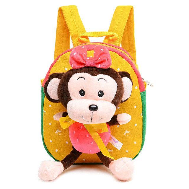 Delune Brand Toddler Kindergarten School Bag Baby Plush Backpack With Cartoon Monkey Children Cute Dot Bow Bags Mochila Infantil