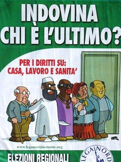 This is a controversial political ad put out by Lega Nord attempting to depict immigrants being put ahead of native Italians. Lega Nord has reputation for being very xenophobic and appeal to the people who feel the same way. It is meant to perpetuate a fear of non-European migrants in Italy.
