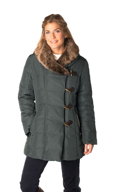 The Dubarry Keyes ladies down jacket in Mallard, with faux fur collar and toggle closure.
