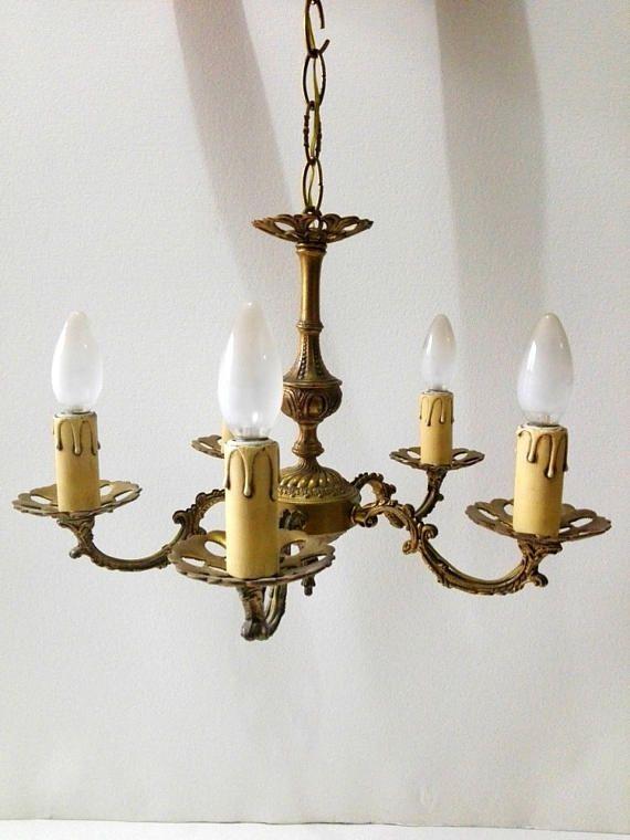 Lustre vintage en bronze à 5 branches luminaires vintage