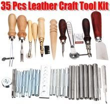 Practical 35Pcs Leather Craft Tools Kit Hand Sewing Stitching Punch Carving Work Groover For Home DIY Sewing Leathercraft Tool
