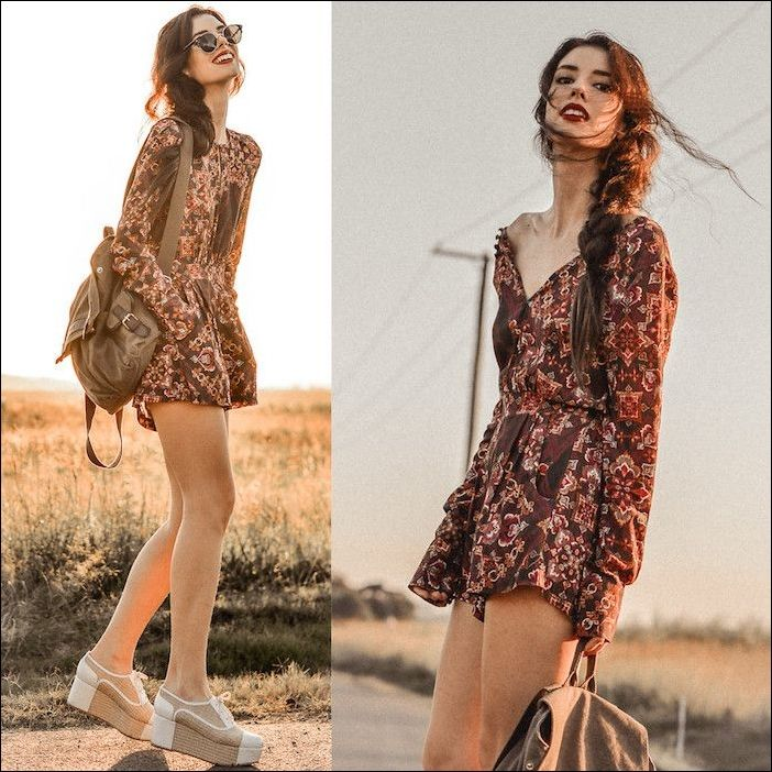 boho dress in dark red with floral pattern, braided hairstyle with big … | Hairstyles Women #Front hairstyles #Front hairstyles #Furst hairstyle