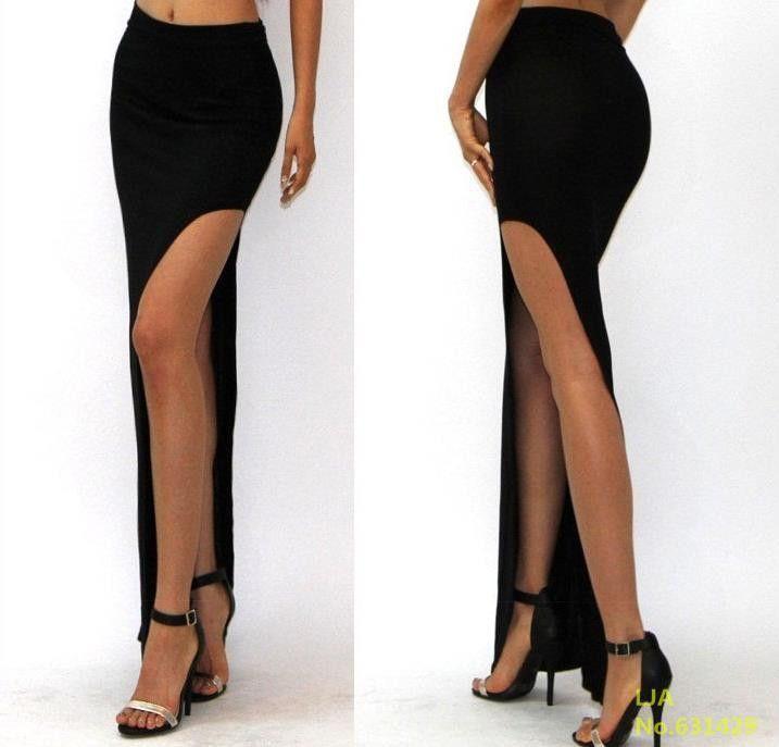 2016 New Fashion Charming Sexy Women Lady Long Skirts Open Side Split Skirt Long Maxi Skirt Black