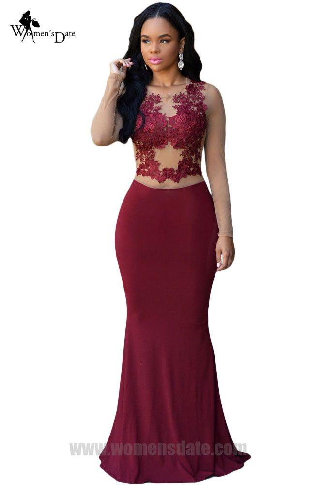 WomensDate Sexy Women Autumn Long Sleeve Mesh Lace Maxi Dress Wine Red O-Neck Floor-Length Back Zipper Night Club Party Dresses