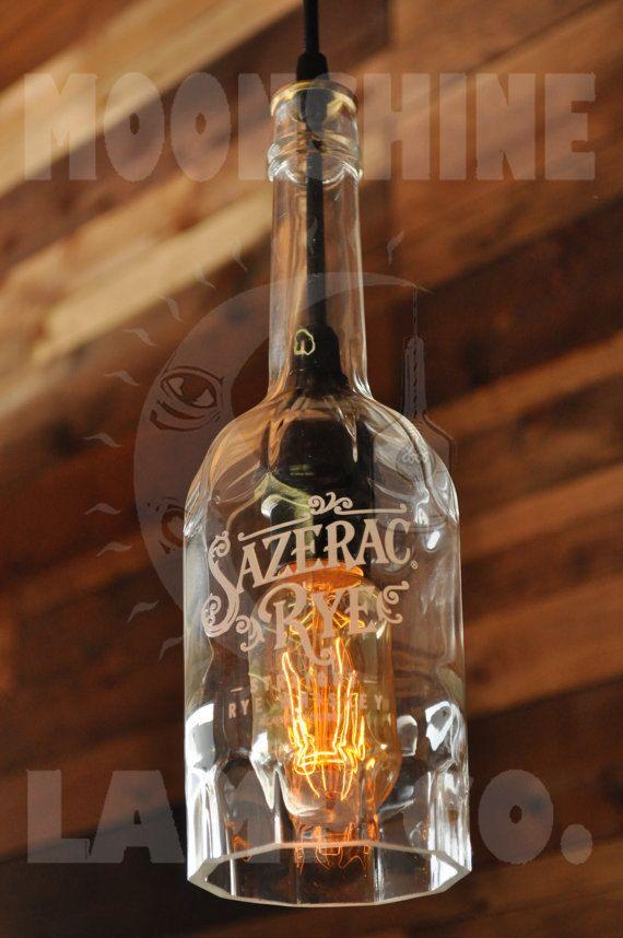Sazerac Rye Whiskey Recycled bottle lamp by MoonshineLamp on Etsy