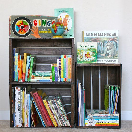 Make a simple bookshelf out of unfinished wooden crates. Add more crates as your book collection grows.