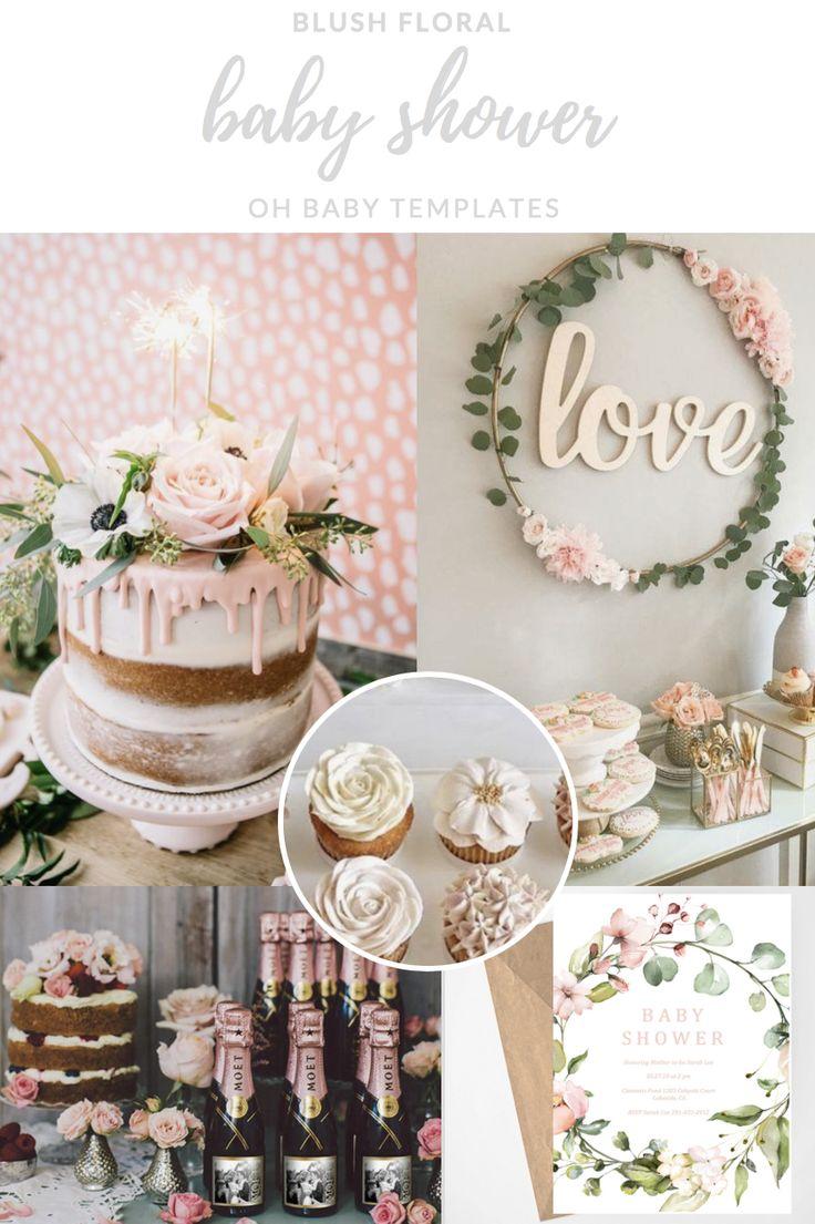 Floral Baby Shower Invitation, Blush Pink, Greenery, Girl Baby Shower, Baby Shower Invites, Printabl
