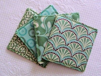 Fabric Coasters - unbelievably easy and quick to make, you don't even need interfacing, but I would slip a piece of felt into the middle of the fabric just to make it a bit fatter and less floppy!