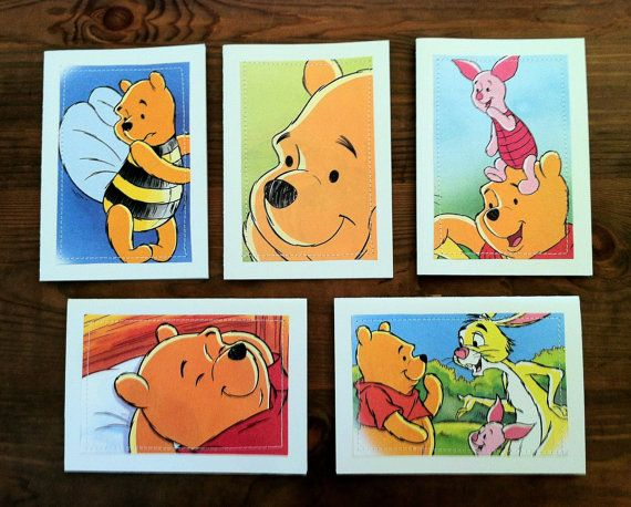 Winnie the Pooh  Greeting Cards set of 5  Sweet Dreams book cutouts by MagpieSailor