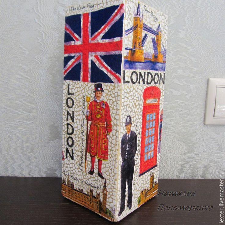 Купить Вазы ручной работы. Стеклянная ваза Лондон - разноцветный, фиолетовый, красный, золотой, лондон