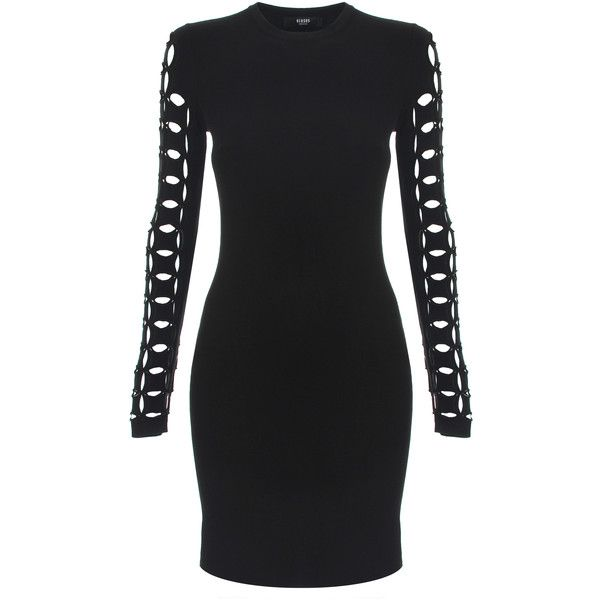 Versus Versace Lazer Cut Sleeve Dress ($740) ❤ liked on Polyvore featuring dresses, collar dress, bodycon dress, long-sleeve mini dress, short dresses and sleeved dresses