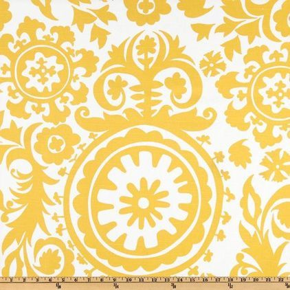 mediterranean upholstery fabric by Fabric.com.Premier Prints Suzani Slub, Yellow/White - $8.48 »  Frame a big piece of fabric. Scoop up some cheery fabric, like the sunshine-yellow suzani shown here, and staple it over canvas stretchers (found at art supply stores) for quick and easy wall art.