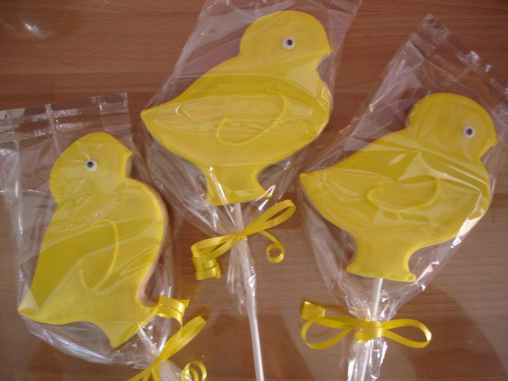 Chick on a stick Sugar Cookie pops
