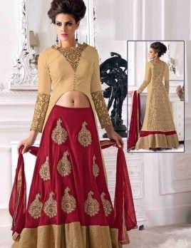 Cream Classic Anarkali Suit With Bhagalpuri Material