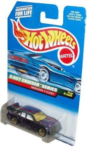 Mattel Hot Wheels 1998 X Ray Cruiser Series 1:64 Scale Die Cast Metal Car # 1 of 4   Purple Luxury Sedan MERCEDES C CLASS with Spoiler (Collector # 945). #Mattel #Wheels #Cruiser #Series #Scale #Cast #Metal #Purple #Luxury #Sedan #MERCEDES #CLASS #with #Spoiler #(Collector