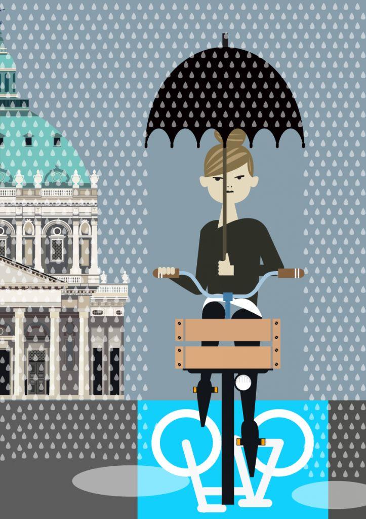Even rainy Copenhagen has its charms - illustration #Sivellink