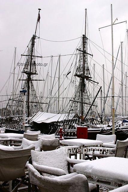 Χιόνια στον Πειραια - Μικρολιμανο