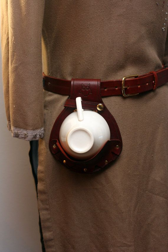 Steampunk Leather Teacup Holster with Owl Designs