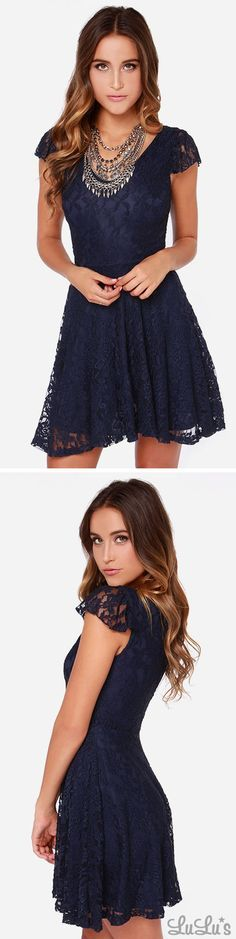 LULUS Exclusive Made To Love Navy Blue Lace Dress