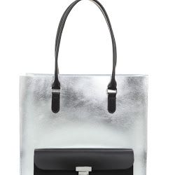 Brix + Bailey Silver leather Large Tote Bag - Luxury Leather Handbags and Accessories designed by sister in London, Brother in New York, www.brixbailey.com. Licensing www.thisisiris.uk, Collab with Naomi Isted www.ultimatelifestylist.com