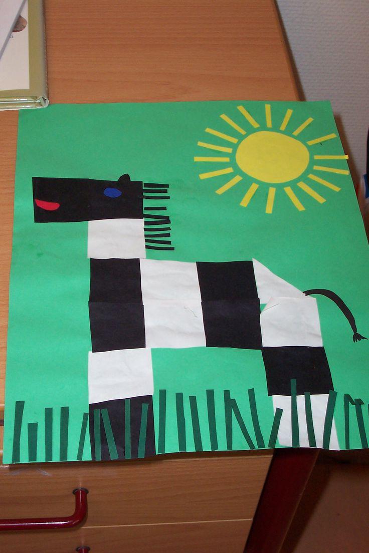 * Zebra van kant en klare vierkantjes of laat ze zelf vouwen/knippen...