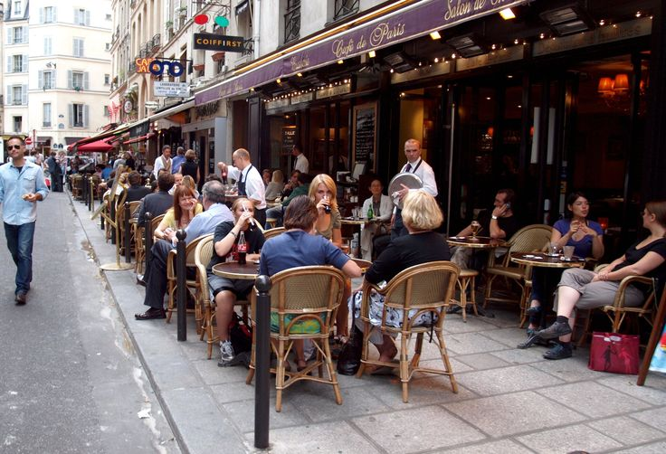 Paris France Cafe Menus | typical street lined with cafes also cafes are everywhere since this ...
