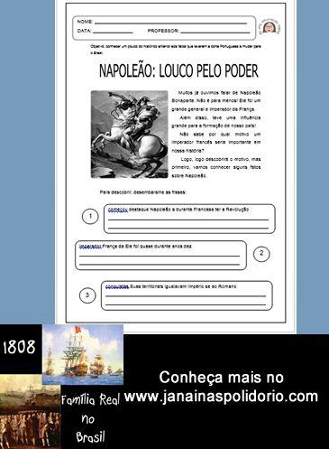 Apostila com atividades prontas sobre a vinda da Família Real ao Brasil. 12 páginas. Visite: http://www.janainaspolidorio.com/familia-real-no-brasil-1808.html