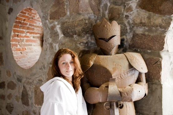 Posing with the spa guardian!