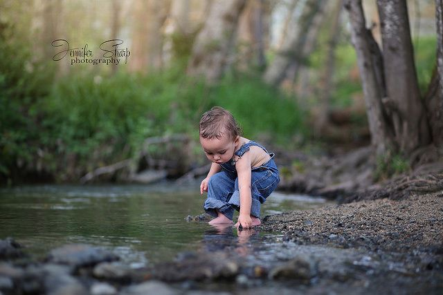 Playing at the creek Toddler Boy Photography Southern Oregon Photographer Jennifer Sharp Photography Connor David 15 months