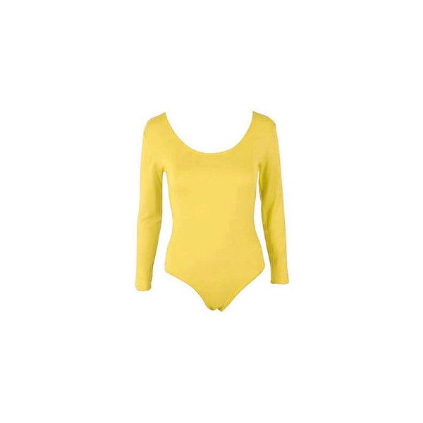 Womens Long Sleeve Stretch Bodysuit Ladies Leotard Body Top Tshirt... via Polyvore featuring tops, t-shirts, long-sleeve shirt, yellow tee, long sleeve yellow t shirt, tee-shirt and stretch shirt