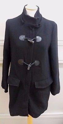 Zara Trafulac Ladies Black Zip Up Duffle Coat Size Medium