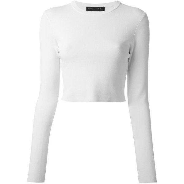 Proenza Schouler Cropped Sweatshirt (1.490 BRL) ❤ liked on Polyvore featuring tops, hoodies, sweatshirts, shirts, crop tops, sweaters, white, long sleeve crop top, crop top and white crew neck sweatshirt