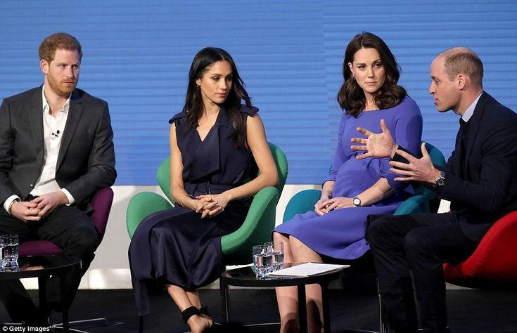 Meghan, 36, opted for a sleeveless navy number, braving snowy conditions with bare legs and strappy sandals, for the first annual Royal Foundation Forum on Wednesday alongside Kate.