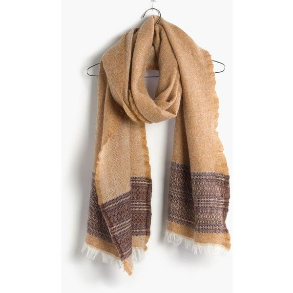 MADEWELL Borderweave Scarf ($50) via Polyvore featuring accessories, scarves, egyption gold, madewell, metallic scarves, metallic shawl and madewell scarves