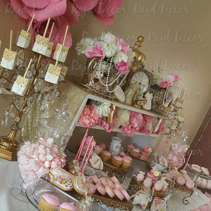 Pretty pink and gold tea party baby shower party! See more party ideas at CatchMyParty.com!