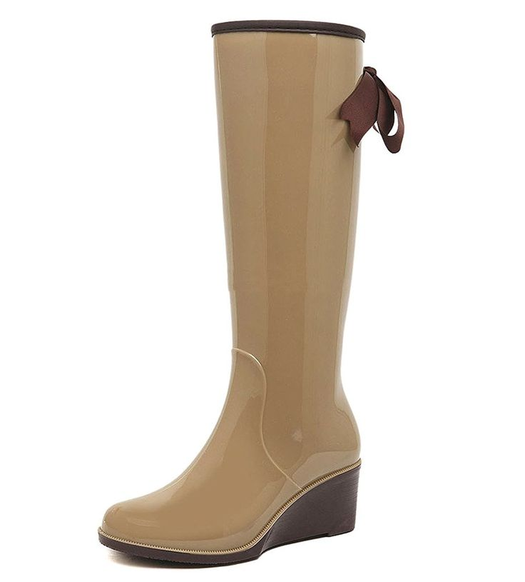 Getmorebeauty Women Mid Calf Brown Butterfly Wedge Wellies Rain Boots *** Details can be found by clicking on the image.