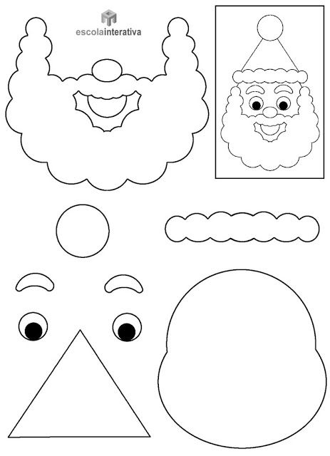 santa face printable cutout paper crafting 2 pinterest