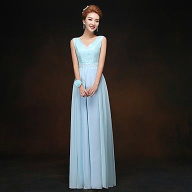Dress+Sheath/Column+V-neck+Floor-length+Chiffon+Dress+–+USD+$+29.99