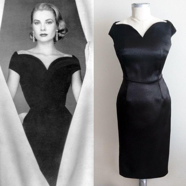 Grace Kelly/ midi evening Dress/ Vintage 50s/ Black Dress/ 1950's/ Little Black Dress/ Custom made dress/ Hollywood Glamour/ Tailored Dress